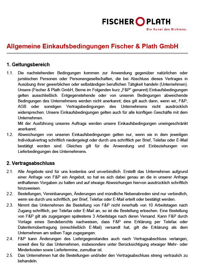 <p><strong><br/>Einkaufsbedingungen</strong></p><p>Fischer &amp; Plath GmbH</p>