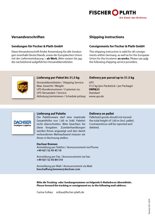 <p><br/></p><p><strong>Versandvorschriften</strong><br/></p><p>Fischer &amp; Plath GmbH</p>