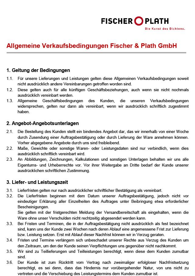 <p><strong><br/>Verkaufsbedingungen</strong></p><p>Fischer &amp; Plath GmbH</p>